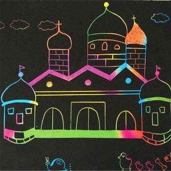 10 Levhalar Sihirli Scratch Sanat Boyama Kağıt çizim Ile Sopa çocuk