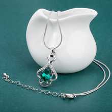 ALULU 7 Color Crystal Women's Necklace Earrings Jewelry Set Rhinestone Pendant Drop Earrings Set Silver Plated Jewelry For Women