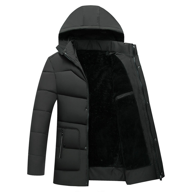 Thick Warm Parka Men Long Winter Jacket Men Hooded Business Casual Slim Male Winter Coat Solid Middle-aged Men Father's Outwear