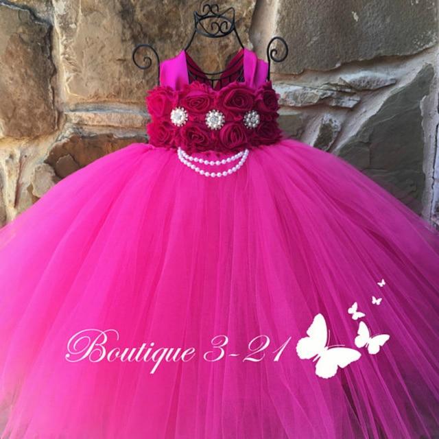 f7de0a9c2b2 New Baby Girl Clothes Fuchsia Flower Girl Dress Pink Fuchsia Shabby Flower  Tutu Dress for Girl Kids Peals Girls Tutu Dresses