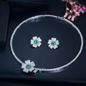 Image 4 - CWWZircons מותג אלגנטי מיקרו פייב ירוק CZ Zirconia אבן פרח קולר שרשרת עגיל תכשיטים סטים לנשים T091