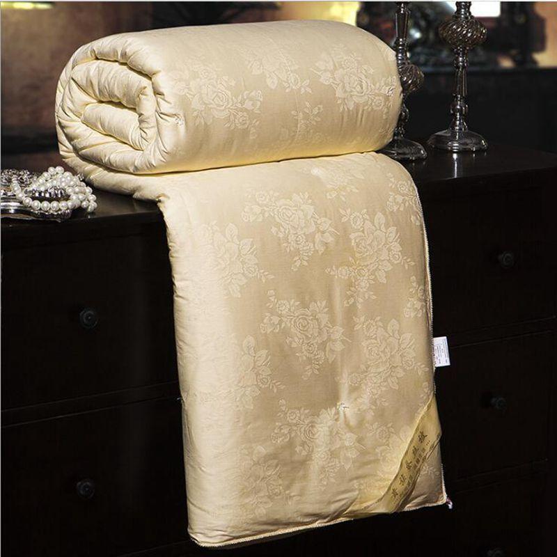Высокое качество сатин жаккард Шелка кашне летние модные теплые зимние шелк Одеяло ручной процесс 100% шелк Заполненный Стёганое одеяло 4 вид