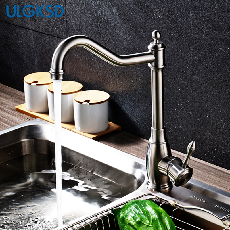 wholesale and retail kitchen faucet Brushed Nickle single hole vanity sink faucet mixer tap sink faucets para kitchen new arrival tall bathroom sink faucet mixer cold and hot kitchen tap single hole water tap kitchen faucet torneira cozinha
