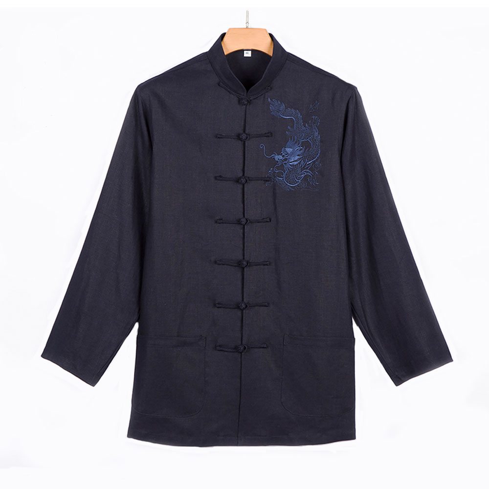 2016 New Man Traditional Chinese  Jacket Men Coat Chinese Dragon Embroidery Clothes and Tai Chi Clothes new pure linen retro men s wing chun kung fu long robe long trench ip man robes windbreaker traditional chinese dust coat