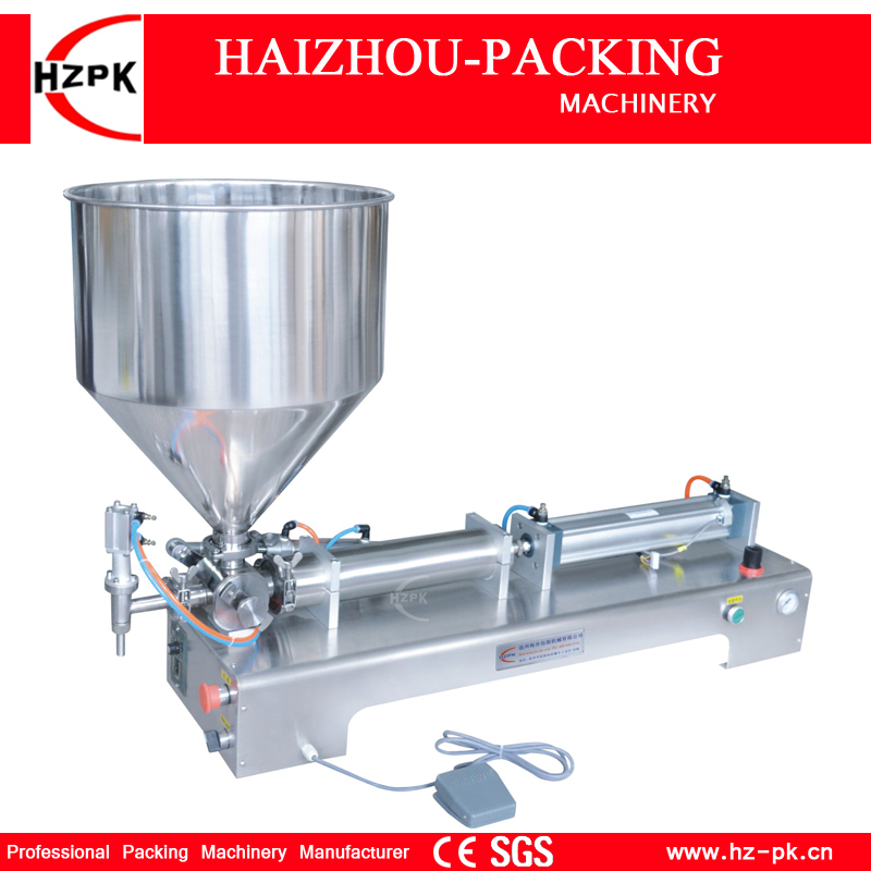 HZPK Semi-automatic Stainless Steel Horizontal Single Head Paste Filling Machine For Viscous Material Filer1000-5000ml G1WGD5000 double hopper stainless steel semi automatic food chemical particle filling machine