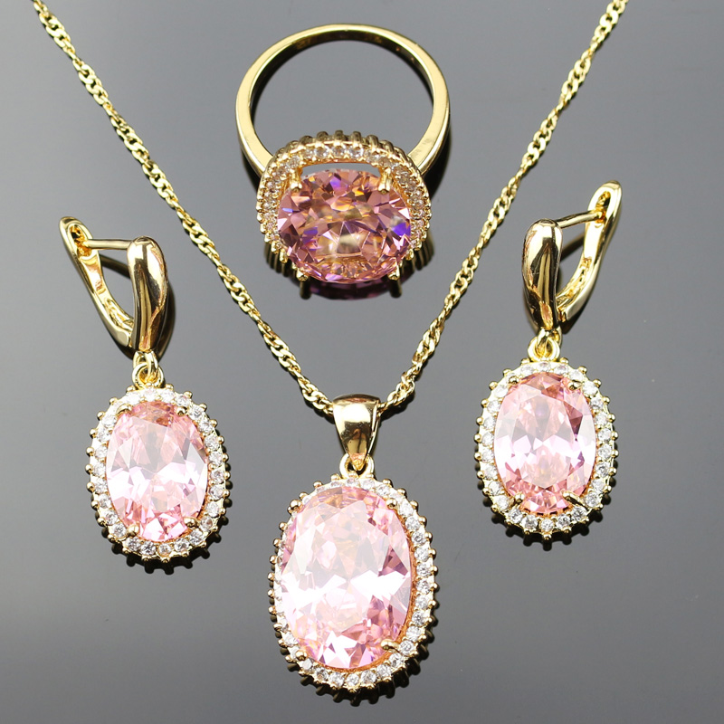 Jewelry-Set Zircon Crystal Necklace/pendant Gold-Color Pink White for JS20GD-PK Reginababy