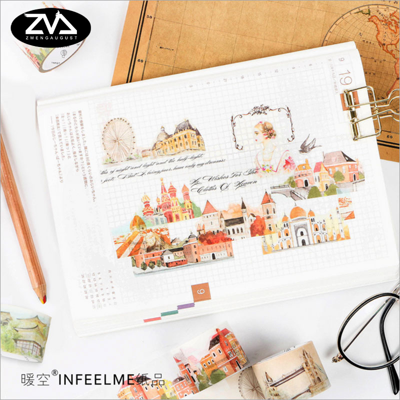 1.5cm*7m/3cm*5m World city washi tape sticker kawaii scrapbooking planner masking tape office adhesive tape DIY tape stationery ezone 1pc kawaii watercolor sakura petal washi tape diy decorative scrapbooking sticker planner masking adhesive tape stationery