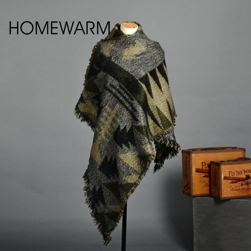 Winter Warm Blanket Cashmere Scarf Women Chic Knit font b Tartan b font Oversize Scarves Shawl