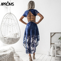 Aproms Sexy Back Lace Up White Dress Elegant Lace Mesh Crochet High Low Party Dresses Summer