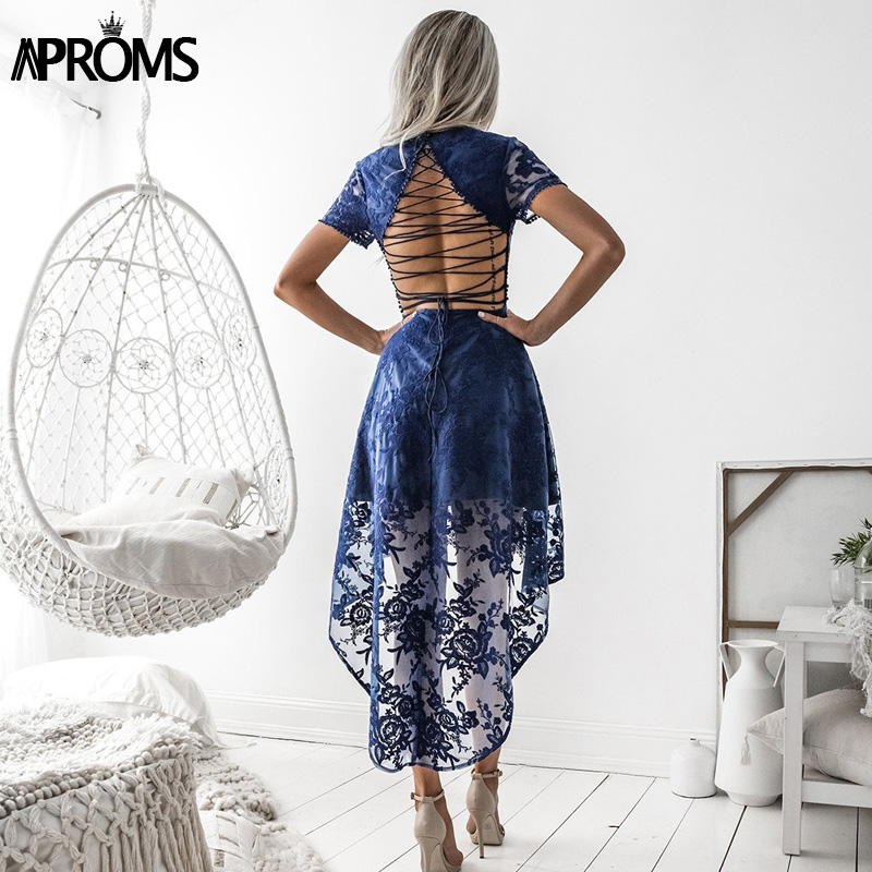 Aproms Sexy Back Lace Up White Dress Elegant Lace Mesh Crochet High Low Party Dresses Summer Short Sleeve Midi Dress New 2018 white lace up 3 4 sleeve top with crochet back