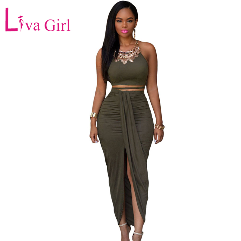 Liva Girl Sexy Sleeveless Maxi Dresses Women Bandage Suede Skater Dresses Two Piece Crop Top with Wrapped Front Split Vestidos