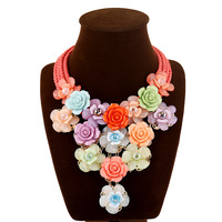 Trendy Jewelry Rope Weaving Color Resin Large Flower Exaggerated Necklace Pendant Bohemia Choker Necklace For Women
