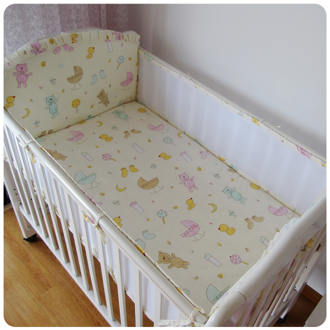 Promotion! 5PCS Mesh cot Baby Bedding Set Crib bed Linen Kit Kids Cotton Newborn crib set ,(4bumpers+sheet)