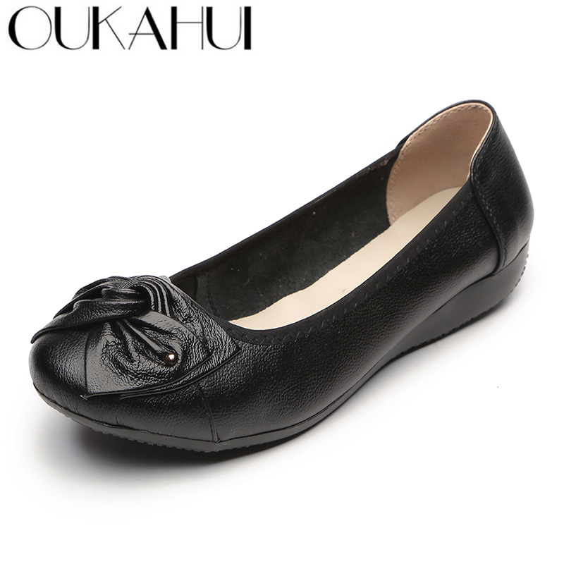 OUKAHUI Summer Classic Ballet Flats Shoes Women Genuine Leather Bowknot Soft Bottom Plus Size Comfortable Ladies Leisure Shoes timetang new genuine leather soft bottom women shoes big size flat heel shoes women casual shoes comfortable ballet flats c087
