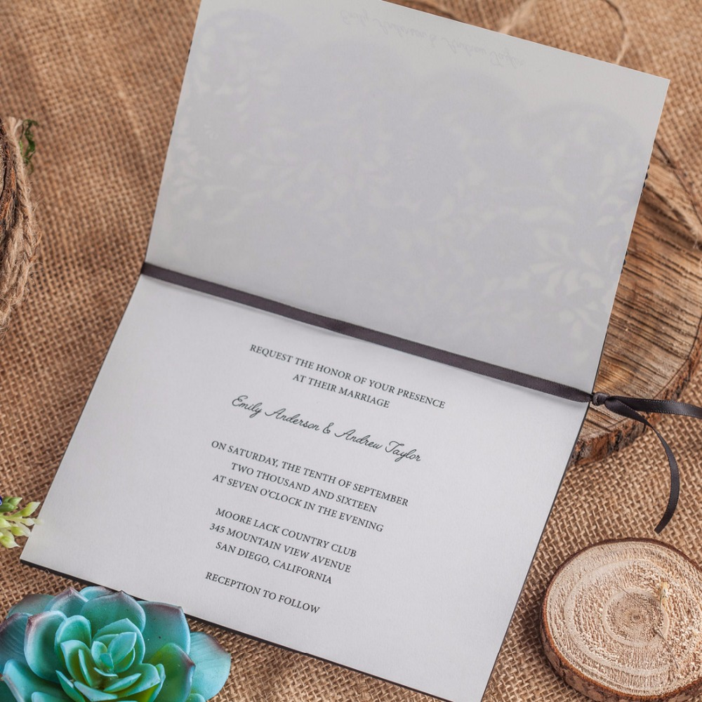 50pcs Laser Cut Wedding Invitations Rustic Vintage Floral Birthday ...