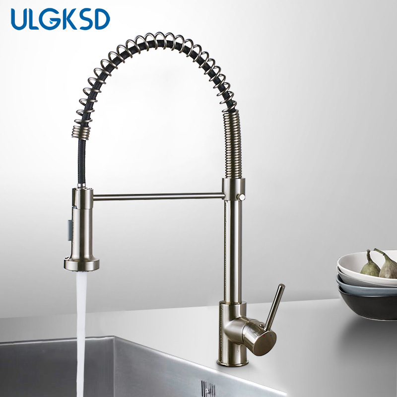 ULGKSD Kitchen Faucet Pull Down Sprayer Nozzle Hot and Cold Water Mixer Tap Single Handle Brass Para Kitchen Sink
