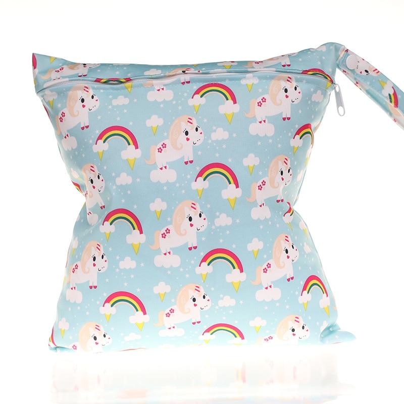 28*30cm Infant 8 Pattern Design Diaper Bag  Reusable Waterproof Wet Dry Bag Nappy Bag Travel Single Layer Diaper Bag With Zipper