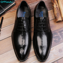 Luxury Brand Genuine Leather Formal Shoes Men Pointed Toe Lace-up Dress Shoes Men's Wedding Shoes Fashion Office Shoes mycoron men formal lace up shoes luxury brand top fashion men shoes genuine leather men shoes chaussures hommes en cuir