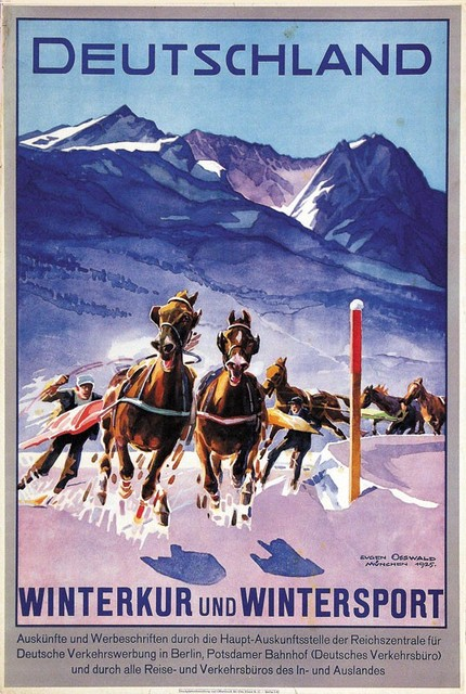 Germany Travel Posters Deutschland Horse Racing Classic