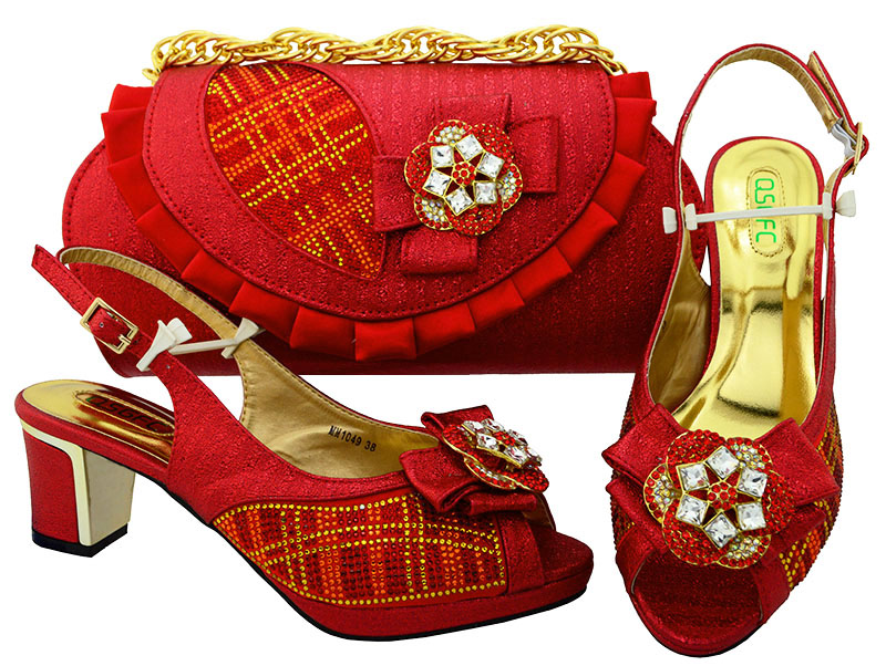 Red shoes and bag matching size 38 to 42 free shipping by dhl SB8095-3 african aso ebi matching shoes and bag set fashion 2018 yh01 hot sale african matching shoes and bag with stone fashion dress shoes and bags free shipping