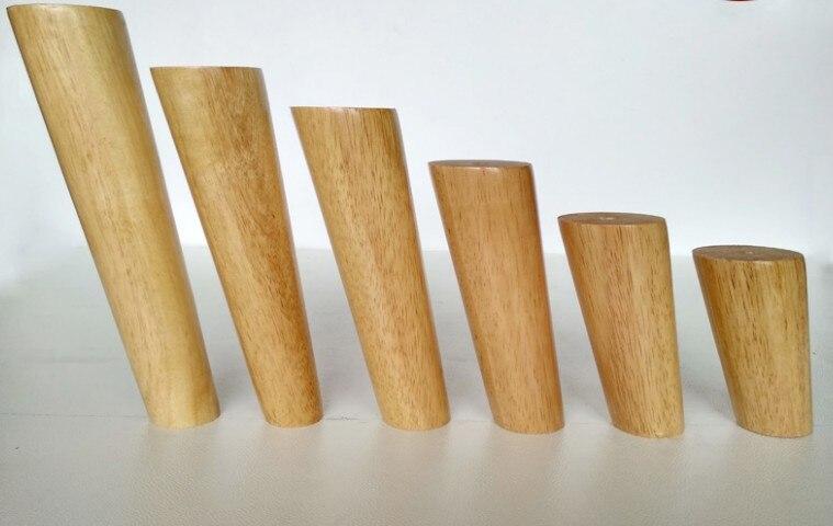 4 unids/lote patas de madera para sofá macizo de roble pies de mesa de centro inclinados muebles pies de nivel con placas de metal patas de gabinete multitamaño B519