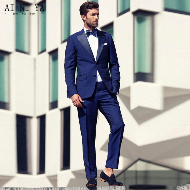 Royal Blue Wedding Tuxedos Sexy Shawl Lapel Custom Made Wedding ...