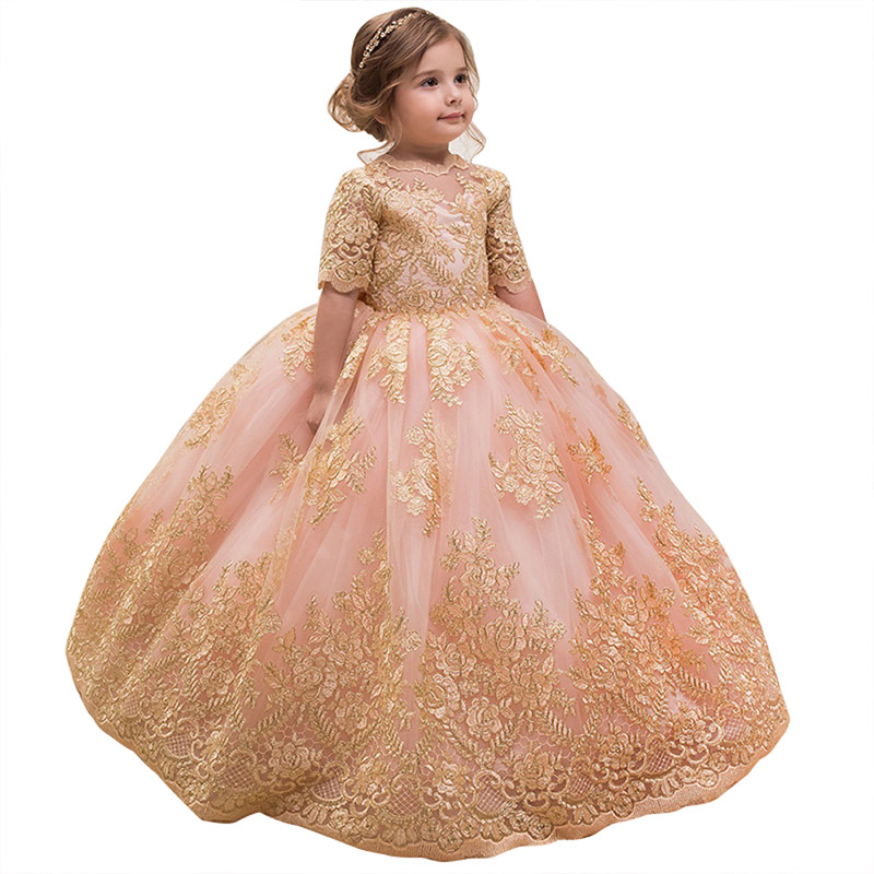princess kids dress for girls half sleeve kids pageant ball gown children clothes lace flower little