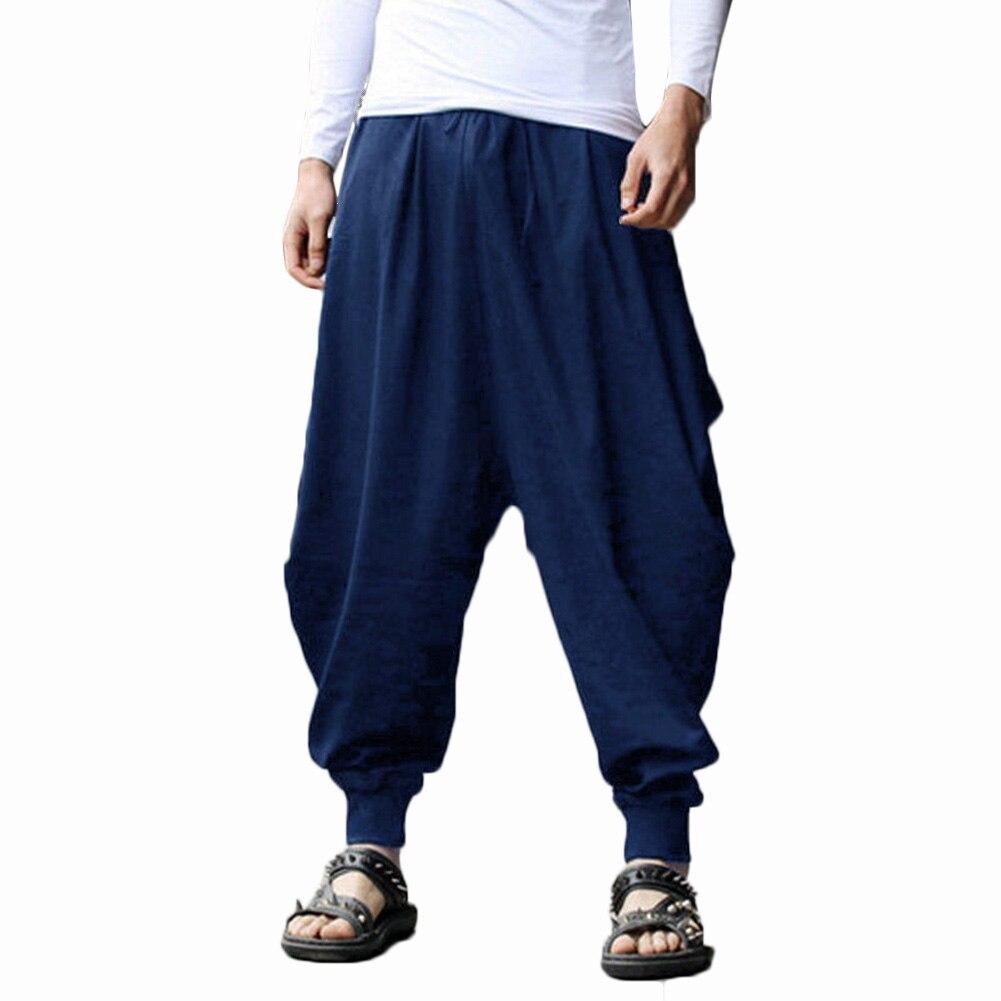 YJSFG HOUSE Brand Mens Harem Pants Grey Hippie Hip Hop Plain Aladdin Martial Male Harem Pants Loose Baggy Trousers Drawstring