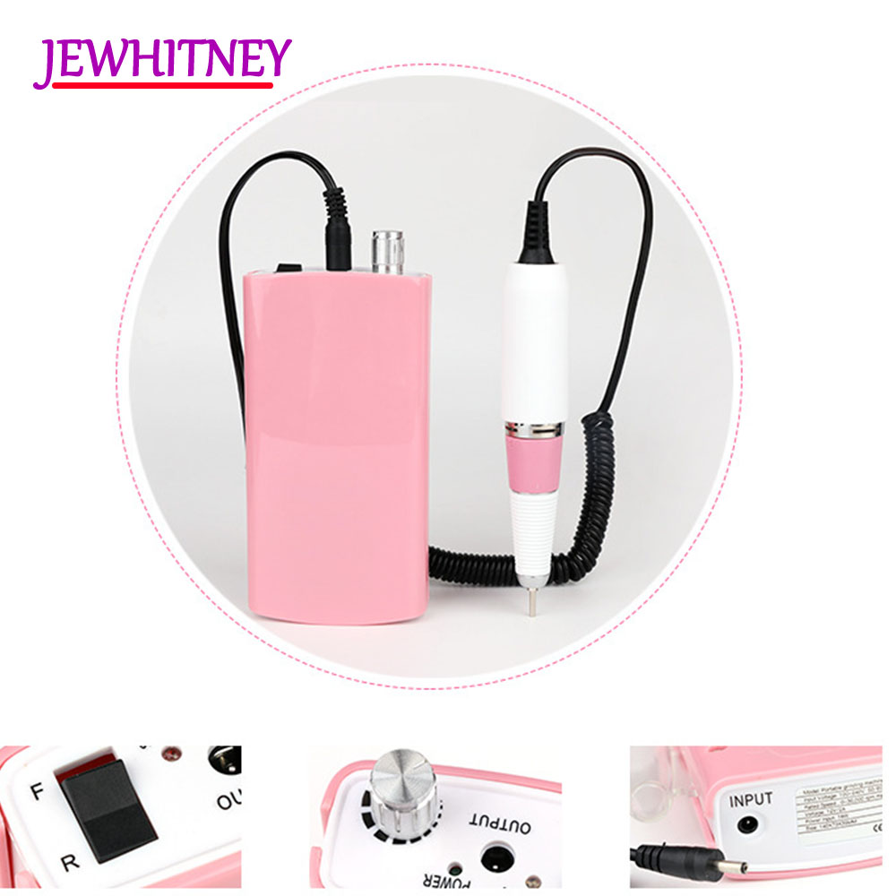 Jewhiteny 18W 30000RPM Rechargeable Electric Nail Drill Machine Acrylic Nail File Manicure Drill Pedicure Kit Nail Art Equipment цены онлайн