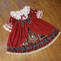 Young17 Women Spring Dress Chiffon Lolita Cartoon Mesh Lace Print Bowknot Fall 2018 Fashion Dress Female