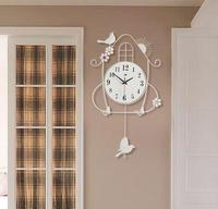 Hot sale Fashion wrought iron metal bird electronic wall clock home design decor for living room,Free shipping.