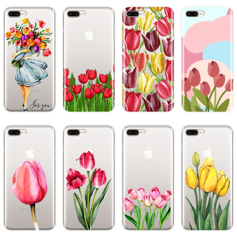 Back Cover For iPhone X XR XS MAX 8 7 6S 6 S Silicone Soft Flower Girl Tulip Floral Phone Case For Apple iPhone 8 7 6S 6 S Plus image