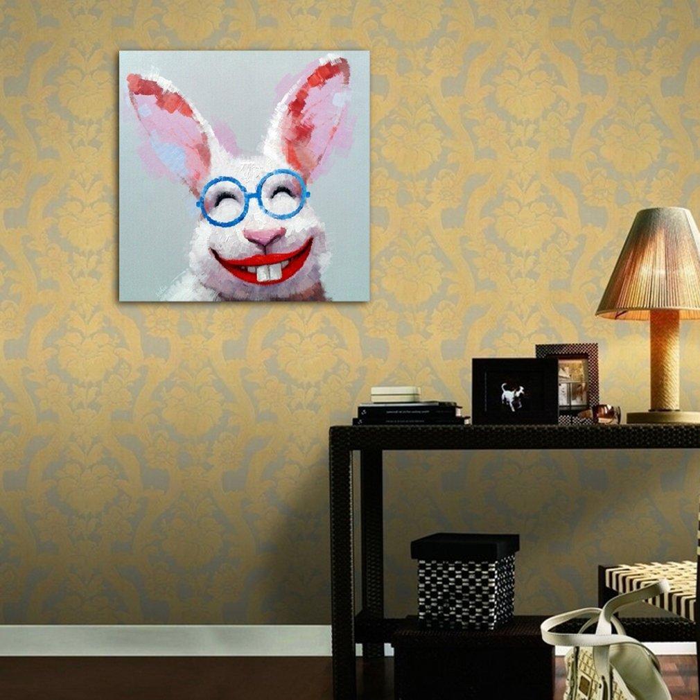 Handpainted Oil Painting Animals Art Cute Pink Rabbit on Canvas ...
