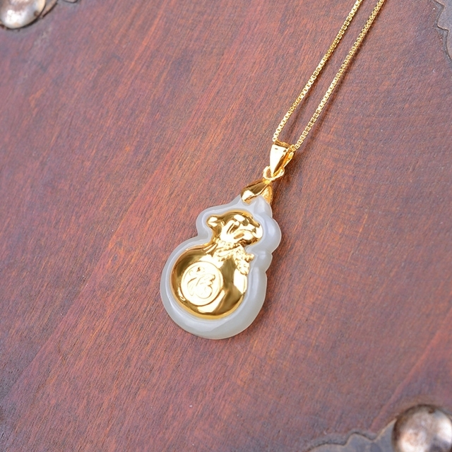 Natural White HeTian Yu 100% Pure Solid 18 K Gold inlaid Lucky Money Bag Blessing Pendant + Necklace + Certificate Fine Jewelry 2