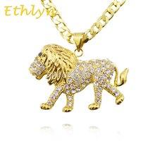 Ethlyn Hombres Joyería Etíope roosevelti Panthera leo león Africano colgante y collar chapado en oro para los hombres