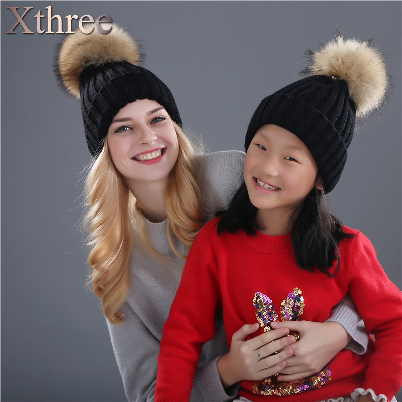 Xthree real mink fur pom poms knitted hat ball beanies winter hat for women girl 's hat Skullies brand new thick female cap fetsbuy mink fur ball cap gray pom poms winter hat for women girl s wool hat knitted cotton beanies cap brand thick female cap
