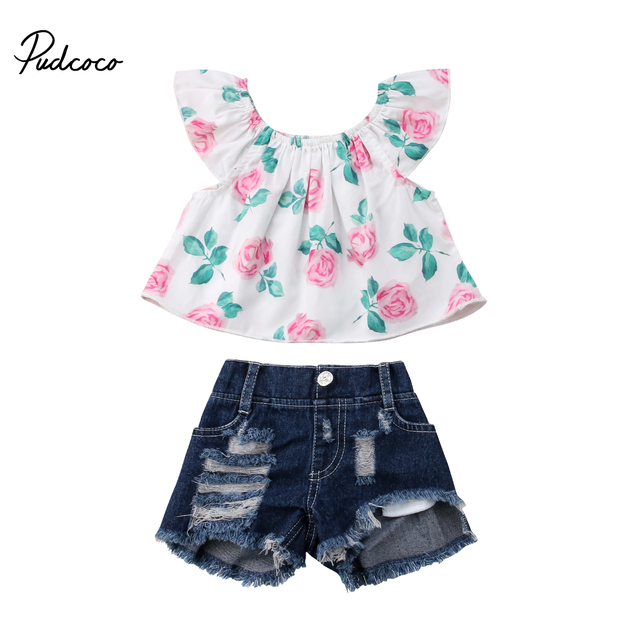 ed5a429ca58c Toddler Baby Kid Little Girls Floral Crop Top Ripped Denim Shorts Babies  Girls Flower Summer Clothes shirt Top Shorts Outfits