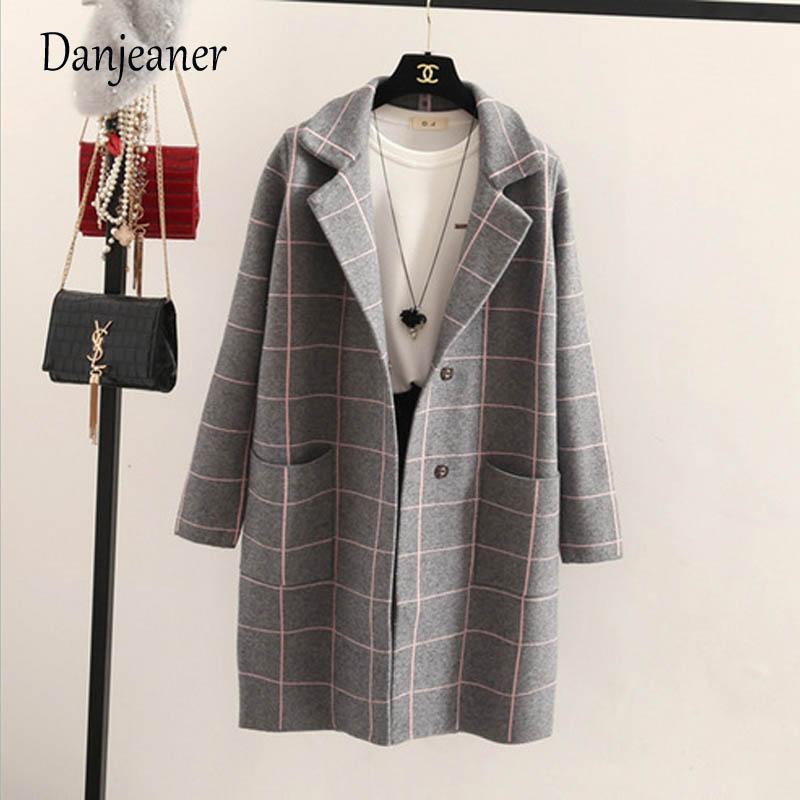 Danjeaner primavera otoño mujeres lana Trench coreano moda larga lana abrigo solo Breasted Delgado mujer Otoño Invierno lana abrigos - 2