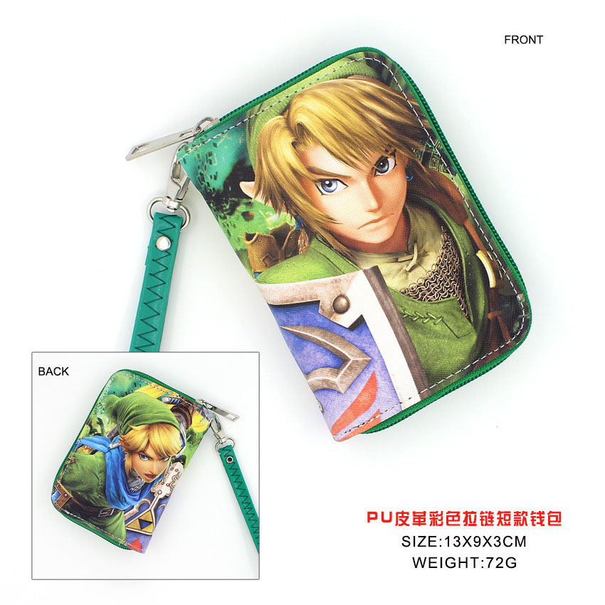 Anime PU Short Wallet/The Legend of Zelda Purse with Zipper/Coin Purse/Zero Wallet games the legend of zelda wallet embossing logo leather short purse gifts teenager boy girl dollar price wallets with coin bags