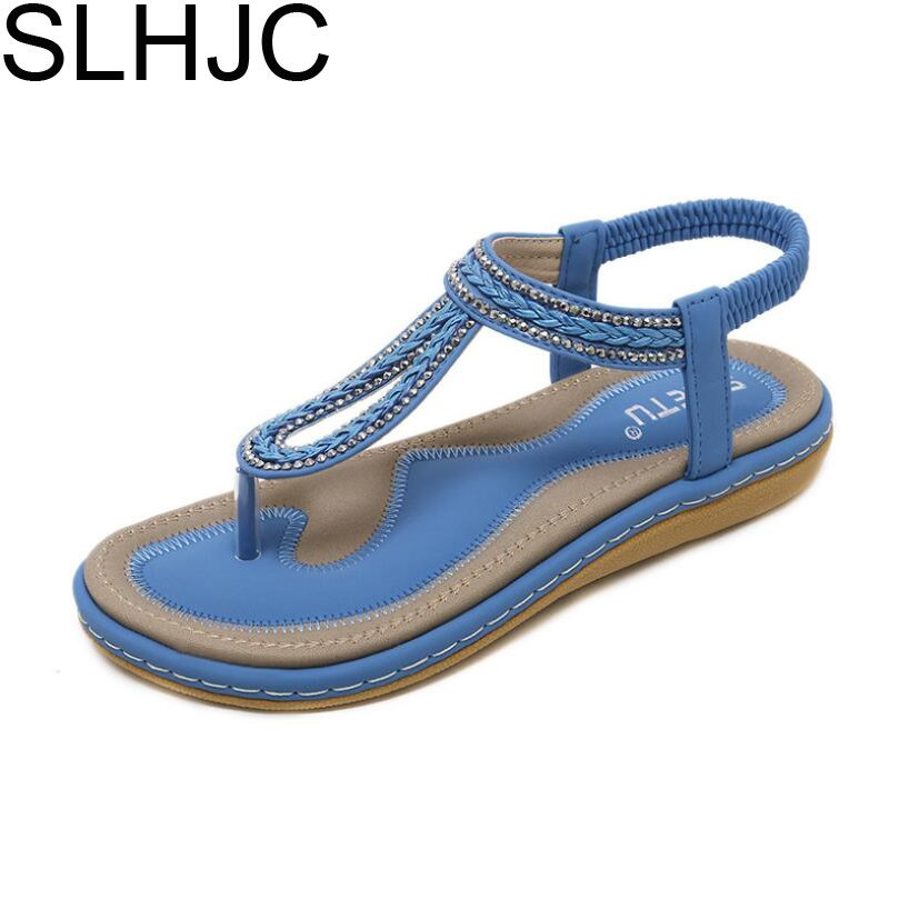 SLHJC Women Sandals Wedges Heel Leather Thong Shoes Low Heel Crystal Bohemia Style Beach Sand Shoes Comfort Cow Muscle Sole