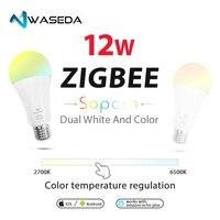 WASEDA RGB+CCT 12w zigbee light bulb E26 E27 B22 dimmable led ceiling chandelier table wall light bulb
