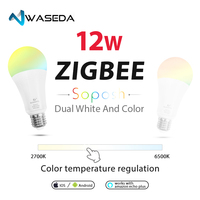WASEDA RGB+CCT 12w zigbee light bulb E26 E27 B22 dimmable led ceiling chandelier table wall light bulb