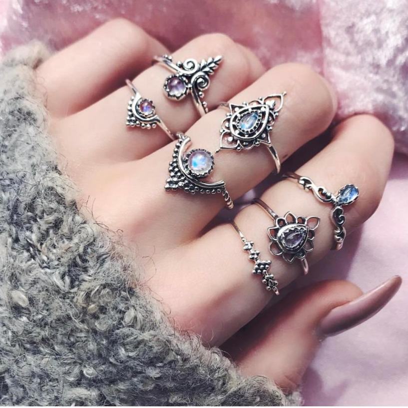 Women Rings New Fashion 7pcs Set Bohemian Retro Silver Charm Rings Above Knuckle with Clear Rhinestone