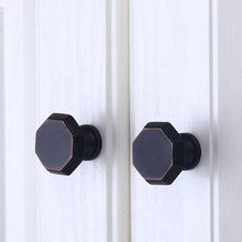 34mm Solid Knob Brass Black Drawer Knobs Pulls Handles Dresser Pull Cabinet Handle Door Modern