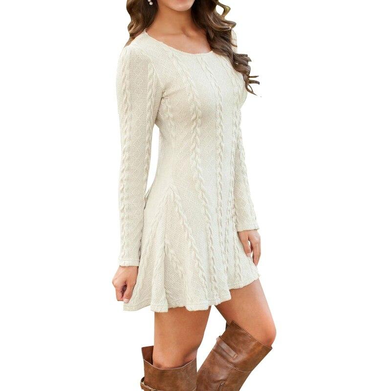 Frauen Kausalen Plus Größe S-5XL Kurze Pullover Kleid Weibliche Herbst Winter Weiß Lange Hülse Lose gestrickte Pullover Kleider