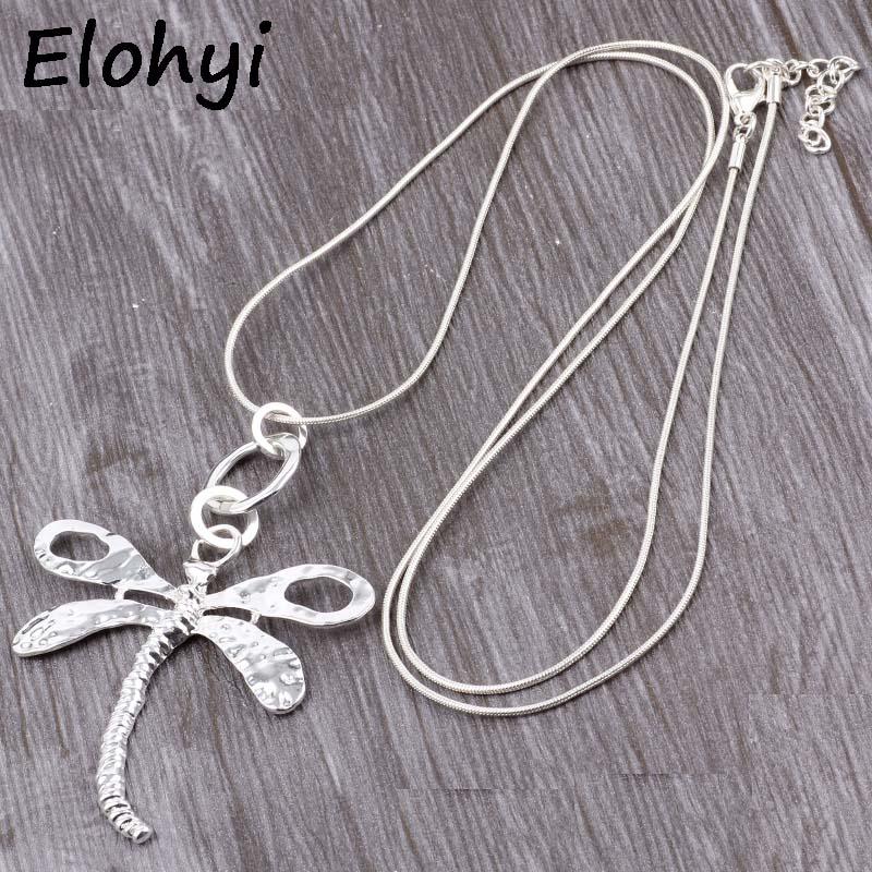 4cbcd4da52d1 ELOYHI mujeres collar libélula declaración collares colgantes Vintage  joyería serpiente cadena collar largo mujeres