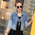 2015 roupas da moda outono beading outerwear jaquetas casaco fino plus size gradiente jaqueta jeans curta mulheres jaqueta jeans casuais