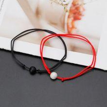 2Pcs Natural Stone Bracelet Red String Couple Lovers Bracelets Wish Card Jewelry