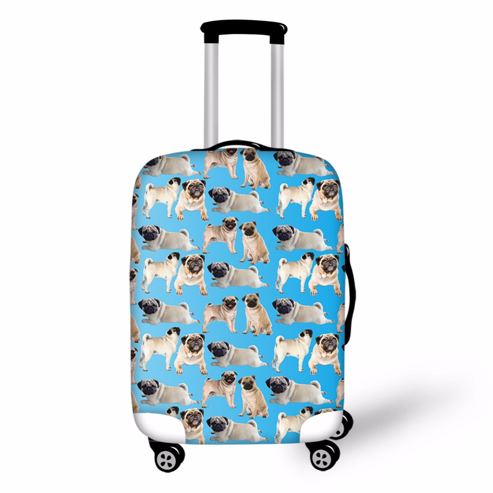 FORUDESIGNS Cute Pug Anti-Scratch Luggage Cover for 18-28 Trolley Suitcase Animal Elastic Travel Accessories Gifts Wholesale