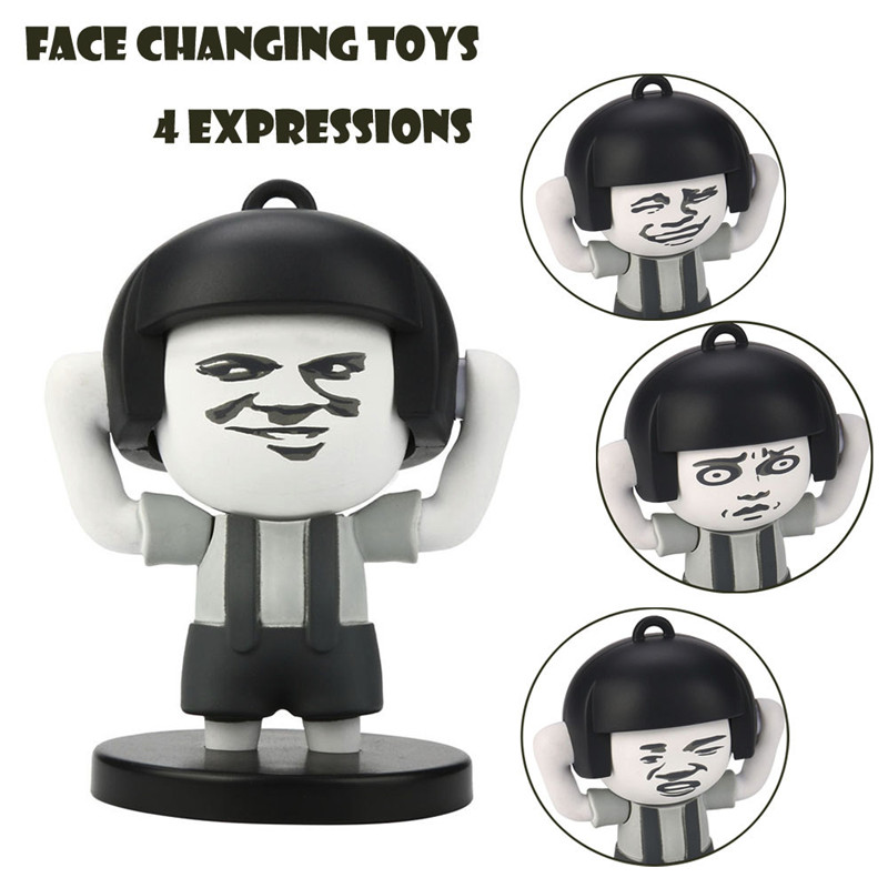 BMushroom Head Face Toys Funny Facial Expressions Decompression Key Chain 4Faces Fun Novelty Toy Gift Anti-stress Kids AdultGU30